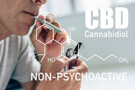 cropped view of man lighting up blunt with medical cannabis near non-psychoactive cbd illustration