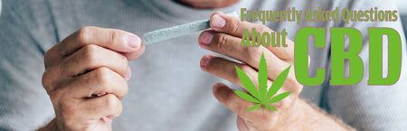 panoramic shot of man rolling blunt with medical cannabis and frequently asked questions about cbd illustration
