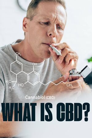 mature man lighting up blunt with medical cannabis at home with what is CBD question