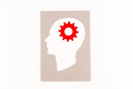 top view of human head silhouette with red gear isolated on white