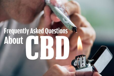 cropped view of man lighting up blunt with medical cannabis and frequently asked questions about cbd illustration
