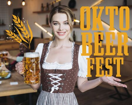 attractive waitress in german national costume holding mug of light beer and looking at camera near Oktobeerfest illustration