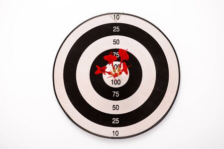 black and white dartboard with red arrows isolated on white