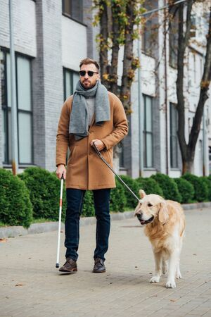Blind man walking with guide dog on urban street