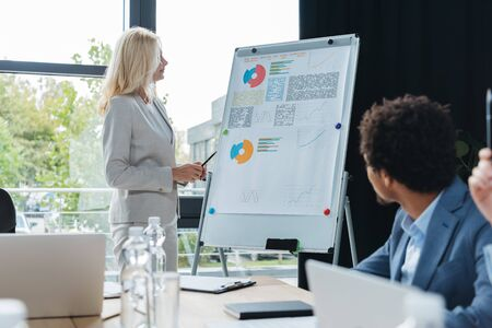 mature businesswoman standing near flipchart with infographics during business meeting with multicultural colleagues