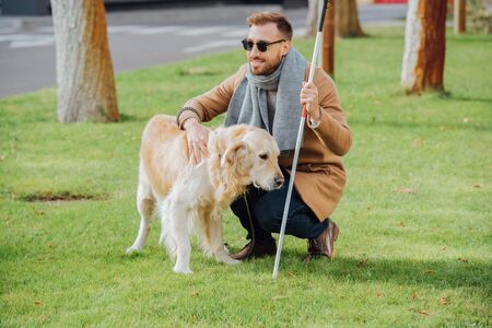 Smiling blind man with walking stick petting guide dog on lawn