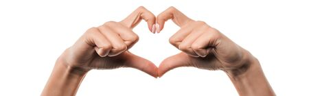 panoramic shot of woman showing heart-shape sign with fingers isolated on white Stock fotó