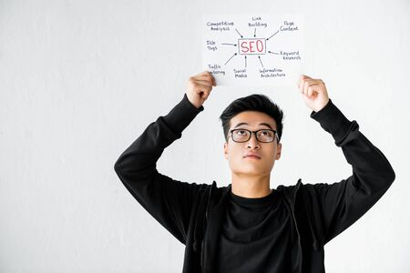 asian seo manager holding and looking at paper with concept words of seo