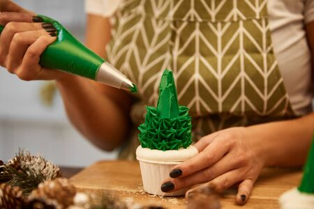 Cropped view of confectioner adding green cream on Christmas tree cupcake beside spruce cones on table