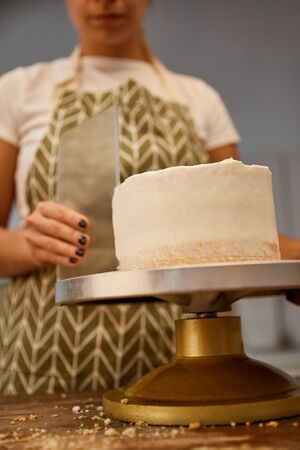 Selective focus of confectioner aligning cream on cake, cropped view