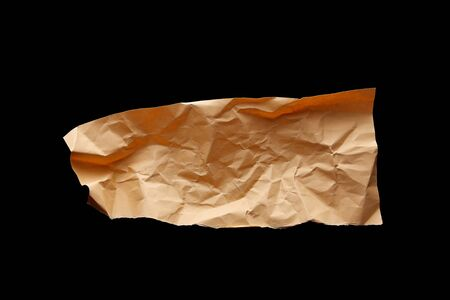top view of empty crumpled paper isolated on black