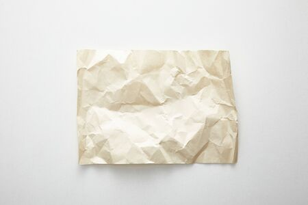 top view of empty crumpled vintage paper on white background 스톡 콘텐츠