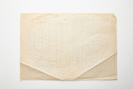 top view of empty vintage paper on white background