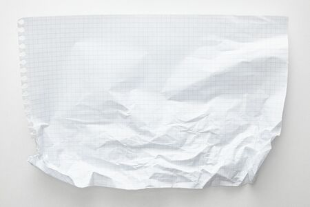 top view of empty crumpled paper on white background