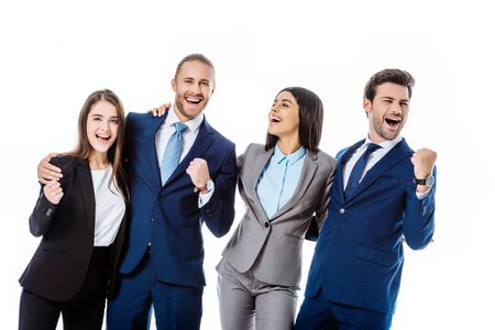 happy multicultural business people in suits laughing and showing yes gestures isolated on white Stok Fotoğraf