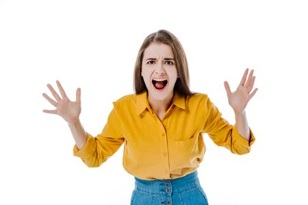 angry attractive girl yelling isolated on white Stock Photo