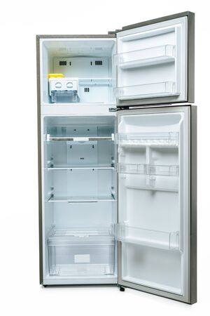 empty open fridge and freezer isolated on white