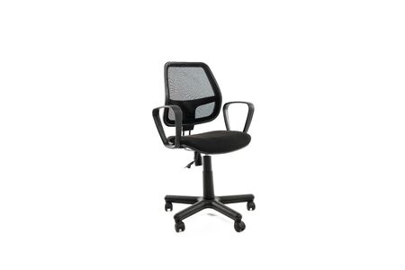 Comfortable office chair with wheels isolated on white 版權商用圖片