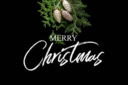 top view of shiny golden Christmas cones on green thuja branches isolated on black with Merry Christmas illustration Stock Photo
