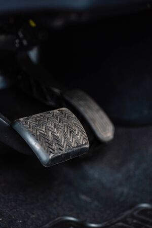 selective focus of brake pedal in car