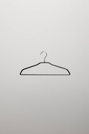 top view of empty hanger on grey background