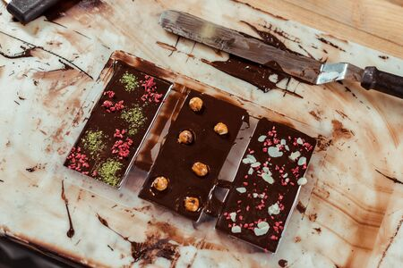 top view of sweet chocolate bars with different flavors 写真素材