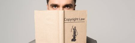 serious lawyer obscuring face with copyright law book isolated on grey