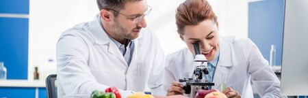 panoramic shot of smiling molecular nutritionist using microscope and her colleague looking at her