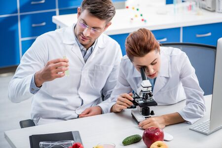 molecular nutritionist using microscope and colleague holding test tube Stok Fotoğraf