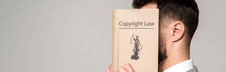 panoramic shot of lawyer obscuring face with copyright law book isolated on grey