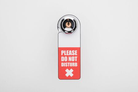please do no disturb sign on handle with lock on white background Reklamní fotografie