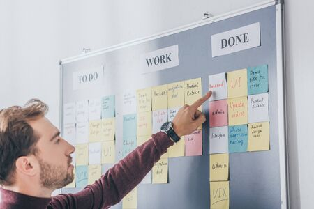 handsome businessman pointing with finger at backend letters on sticky note