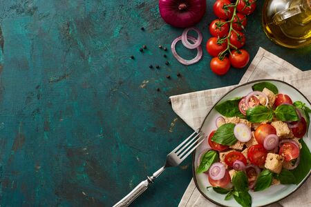 Blick von oben auf den köstlichen italienischen Gemüsesalat Panzanella serviert auf einem Teller auf strukturierter grüner Oberfläche mit Zutaten, Serviette und Gabel