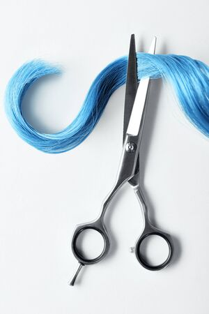 Top view of curl of blue hair and scissors on white background