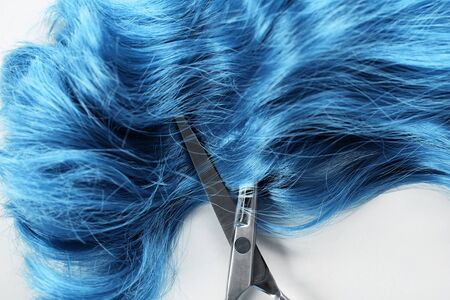 Top view of blue hair and scissors on white background 版權商用圖片