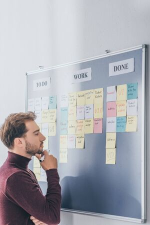 side view of handsome scrum master thinking near board with sticky notes and letters