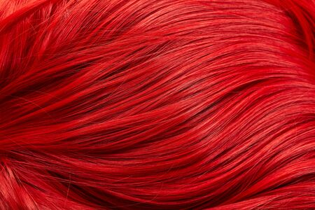 Close up view of colored red hair