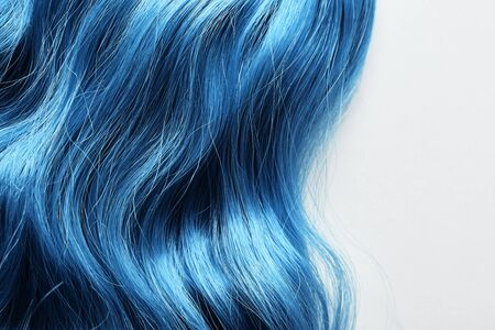 Top view of colored blue hair isolated on white