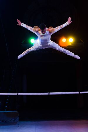 handsome gymnast in costume jumping near pole in arena of circus