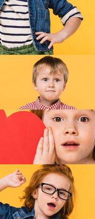 collage of children grimacing and showing different emotions isolated on yellow