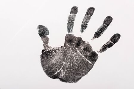 top view of black print of hand isolated on white, human rights concept Banque d'images - 139652568
