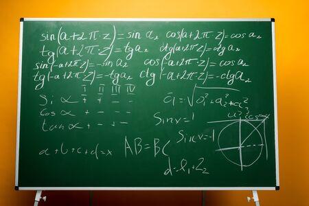 green chalkboard with mathematical formulas on orange
