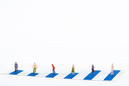 Concept of equality with people figures on surface of blue graphs isolated on white
