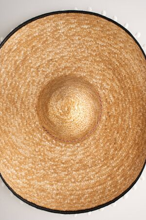 Top view of mexican sombrero on white background