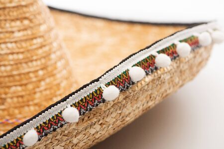 Close up view of mexican sombrero on white background 写真素材