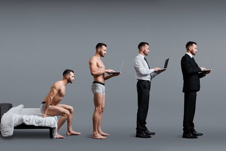 collage of man sitting on bed, standing and using laptop in formal wear on grey, evolution concept 版權商用圖片