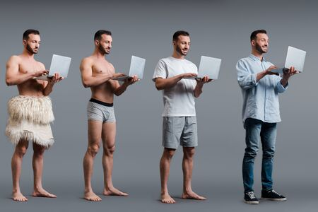 collage of muscular caveman, man in boxer shorts and businessman using laptops on grey, evolution concept