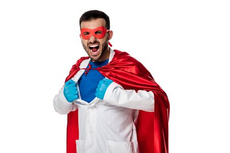 emotional doctor in superhero costume taking off white coat isolated on white