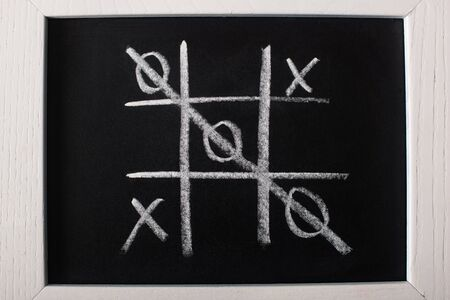top view of tic tac toe game on blackboard with crossed out row on naughts