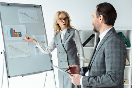 Selective focus of businesswoman pointing on graphs on whiteboard near businessman with clipboard in office